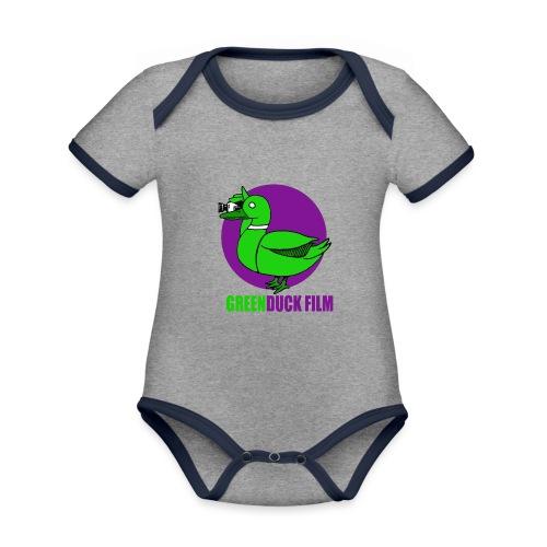 Greenduck Film Purple Sun Logo - Kortærmet økologisk babybody i kontrastfarver
