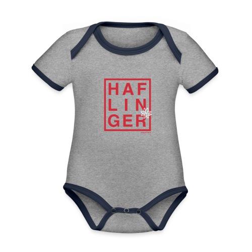 Haflinger Schriftzug / Pferd - Baby Bio-Kurzarm-Kontrastbody