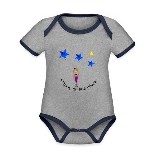 La tête dans les étoiles - Body Bébé bio contrasté manches courtes