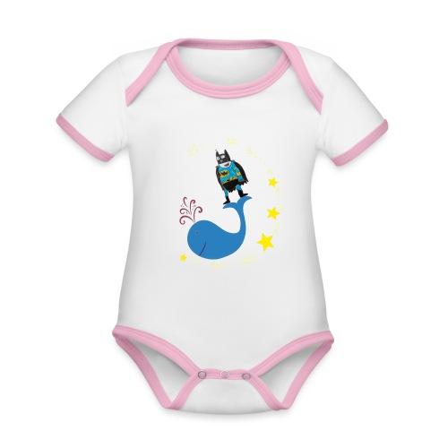 Super baleine - Body Bébé bio contrasté manches courtes