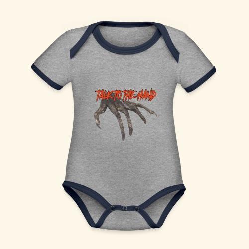 Talk To The Hand - Baby contrasterend bio-rompertje met korte mouwen