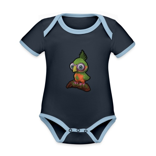 A bird sitting on a branch - Organic Baby Contrasting Bodysuit