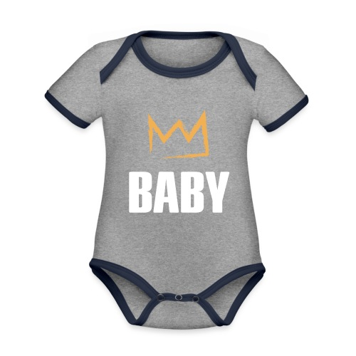 Baby mit Krone - Baby Bio-Kurzarm-Kontrastbody