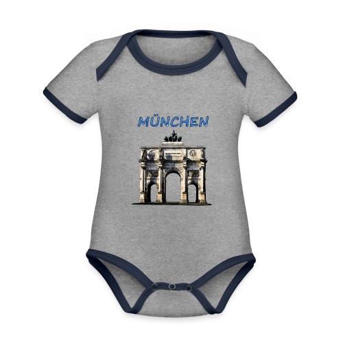 Münchnen Siegestor - Baby Bio-Kurzarm-Kontrastbody