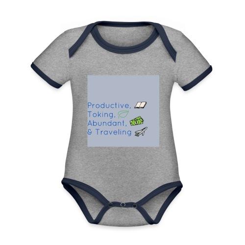 Productive, Toking, Abundant, & Traveling - Organic Baby Contrasting Bodysuit