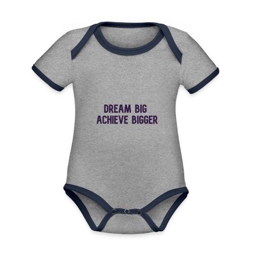 dream big achieve bigger paars - Baby contrasterend bio-rompertje met korte mouwen