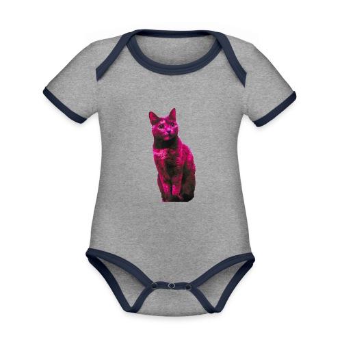 Gatto - Body da neonato a manica corta, ecologico e in contrasto cromatico