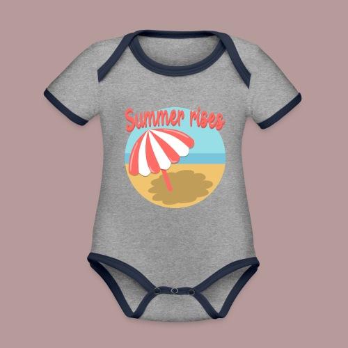 Summer rises parasol sur une plage / mer ciel été - Body Bébé bio contrasté manches courtes