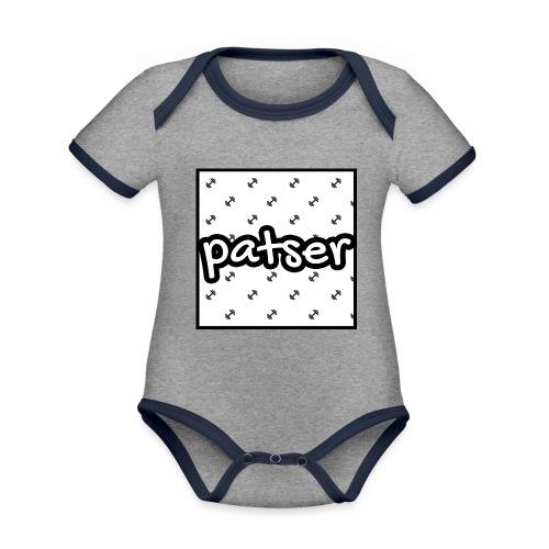 Patser - Basic Print White - Baby contrasterend bio-rompertje met korte mouwen