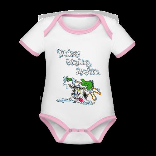 Wicked Washing Machine Cartoon and Logo - Baby contrasterend bio-rompertje met korte mouwen