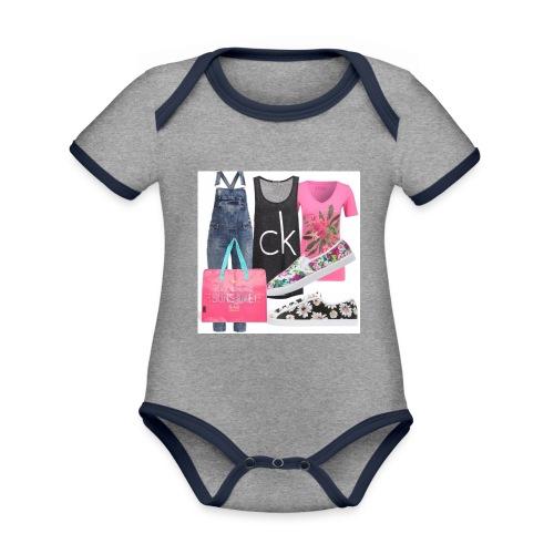 outfit pace e amoreio amo il colore - Body da neonato a manica corta, ecologico e in contrasto cromatico
