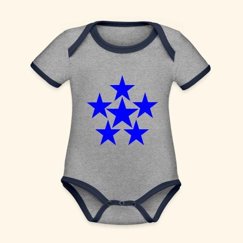 5 STAR blau - Baby Bio-Kurzarm-Kontrastbody