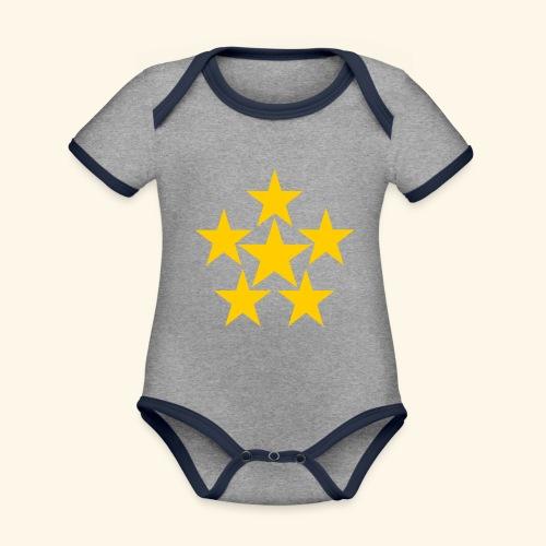 5 STERN gelb - Baby Bio-Kurzarm-Kontrastbody