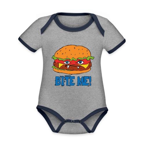 Bite me! - Body da neonato a manica corta, ecologico e in contrasto cromatico