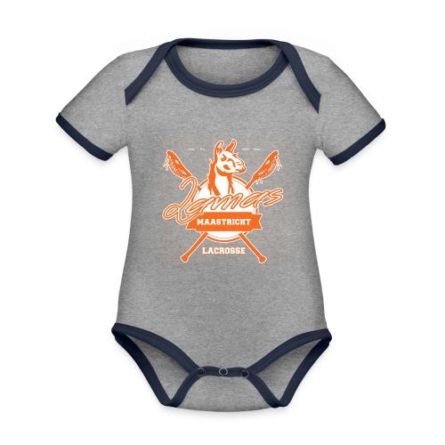 Llamas - Maastricht Lacrosse - Oranje - Baby contrasterend bio-rompertje met korte mouwen