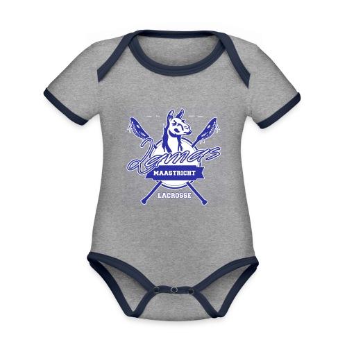 Llamas - Maastricht Lacrosse - Blauw - Baby contrasterend bio-rompertje met korte mouwen