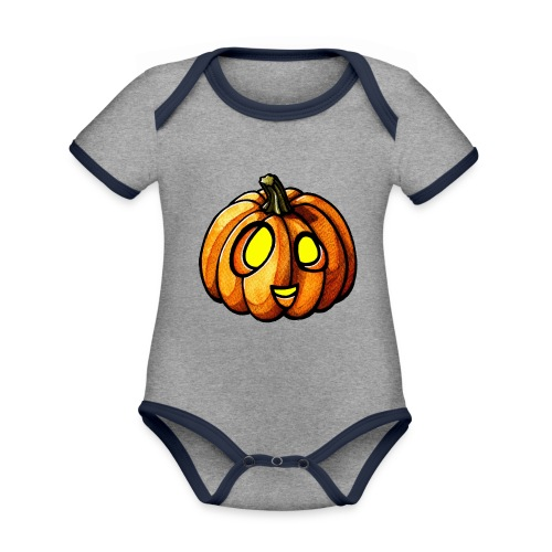 Pumpkin Halloween watercolor scribblesirii - Vauvan kontrastivärinen, lyhythihainen luomu-body
