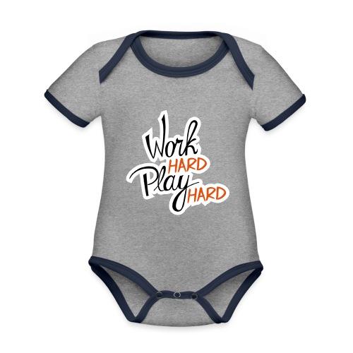 work hard play hard - Baby contrasterend bio-rompertje met korte mouwen