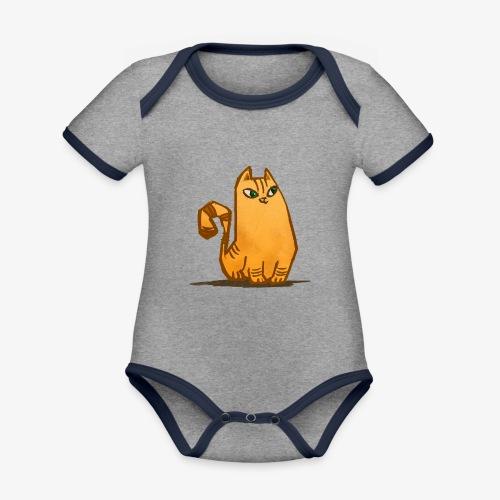 Katt - Ekologisk kontrastfärgad kortärmad babybody