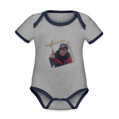 Pel MonoSki un Jour Courbasses Toujours - Ekologisk kontrastfärgad kortärmad babybody