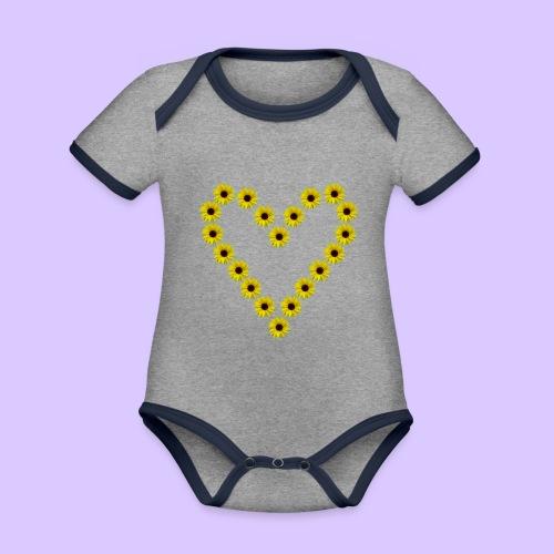 Sonnenblumenherz, Sonnenblumen, Sonnenblume, Herz - Baby Bio-Kurzarm-Kontrastbody