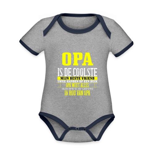 opa is de coolste - Baby contrasterend bio-rompertje met korte mouwen