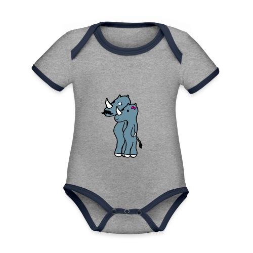 rino hommies - Body da neonato a manica corta, ecologico e in contrasto cromatico