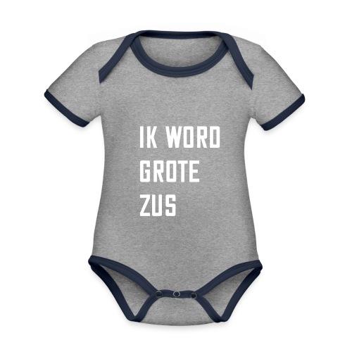 IK WORD GROTE ZUS - Baby contrasterend bio-rompertje met korte mouwen