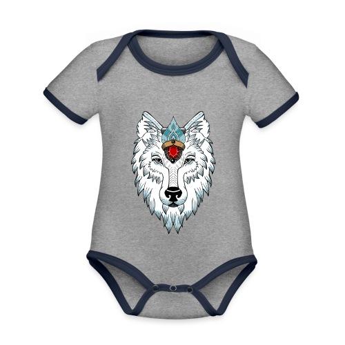 female wolf newschool - Body Bébé bio contrasté manches courtes