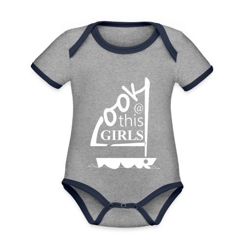 AndriesBik look thisGIRLS shirt witteletters - Baby contrasterend bio-rompertje met korte mouwen