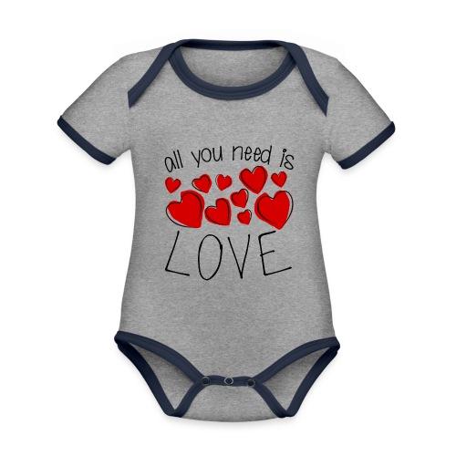 All you need is love - Baby Bio-Kurzarm-Kontrastbody