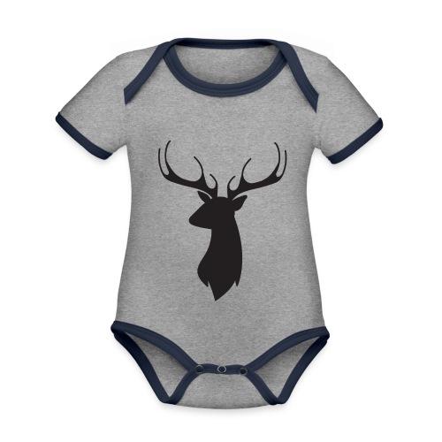 Cerf noir - Body Bébé bio contrasté manches courtes