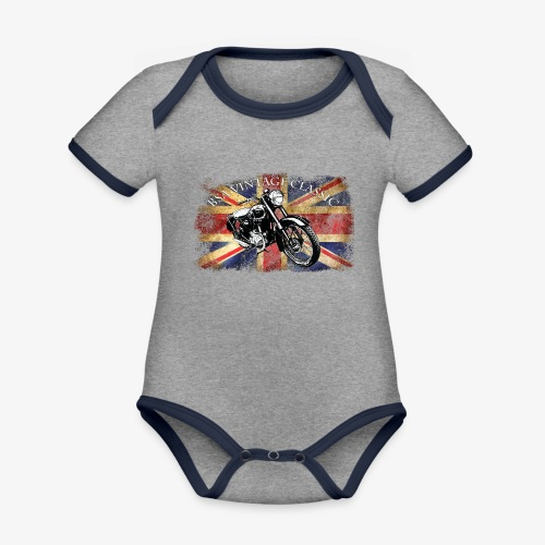 Vintage famous Brittish BSA motorcycle icon - Organic Baby Contrasting Bodysuit