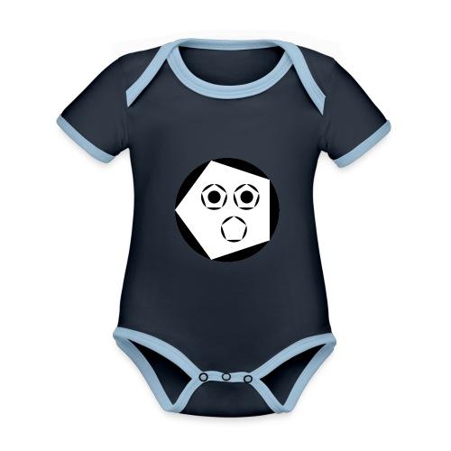 Jack 'Aapje' signatuur - Baby contrasterend bio-rompertje met korte mouwen