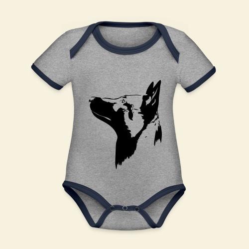 Malinois Portrait - Baby Bio-Kurzarm-Kontrastbody