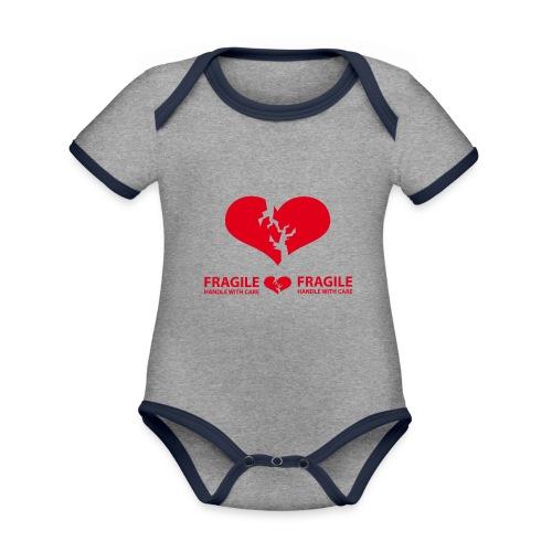 I am FRAGILE - Handle with care! - Ekologisk kontrastfärgad kortärmad babybody