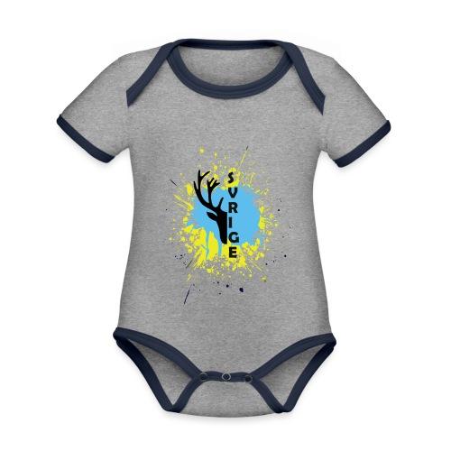 SVERIGE - Ekologisk kontrastfärgad kortärmad babybody