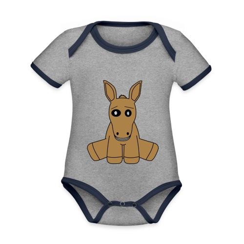 horse - Body da neonato a manica corta, ecologico e in contrasto cromatico