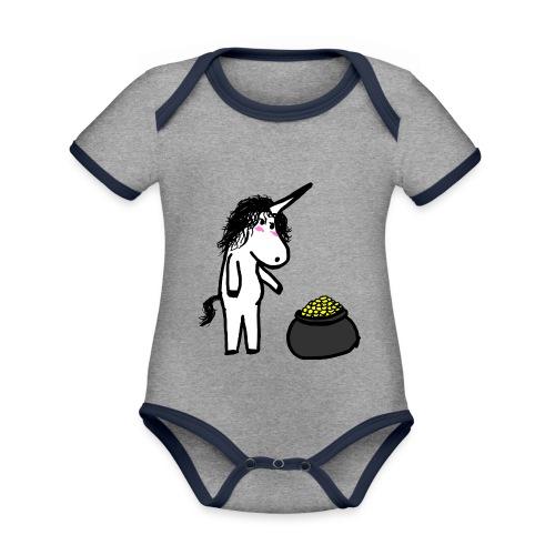 Oro unicorno - Body da neonato a manica corta, ecologico e in contrasto cromatico