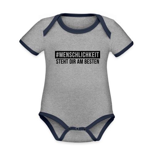 Unisex-Sweatshirt #Menschlichkeit - Baby Bio-Kurzarm-Kontrastbody