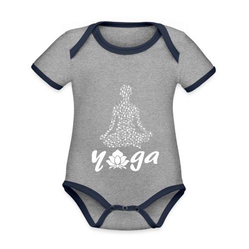 yoga fiore bianco namaste pace amore hippie fitness - Body da neonato a manica corta, ecologico e in contrasto cromatico
