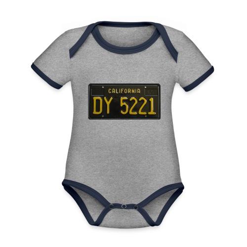 CALIFORNIA BLACK LICENCE PLATE - Organic Baby Contrasting Bodysuit