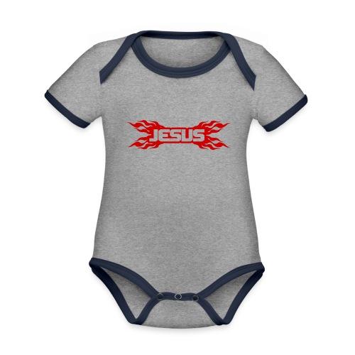 Flaming Jesus Logo 01 - Organic Baby Contrasting Bodysuit
