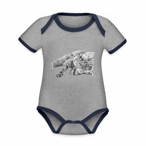 Small kitten in gray pencil - Organic Baby Contrasting Bodysuit