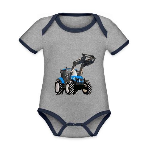Blauer Traktor mit Frontlader - Baby Bio-Kurzarm-Kontrastbody