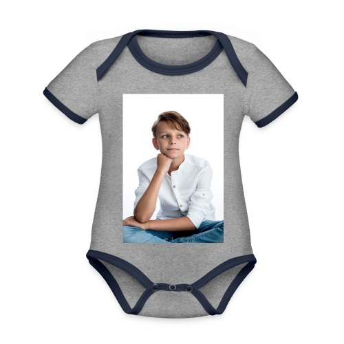 Sjonny - Baby contrasterend bio-rompertje met korte mouwen