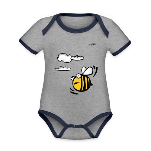 APE - Body da neonato a manica corta, ecologico e in contrasto cromatico
