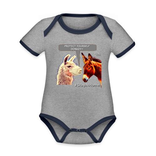 Protect Yourself Donkey - Coronavirus - Organic Baby Contrasting Bodysuit