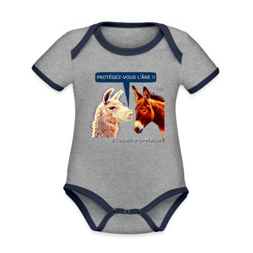 PROTEGEZ-VOUS L'ÂNE !! - Coronavirus - Body Bébé bio contrasté manches courtes