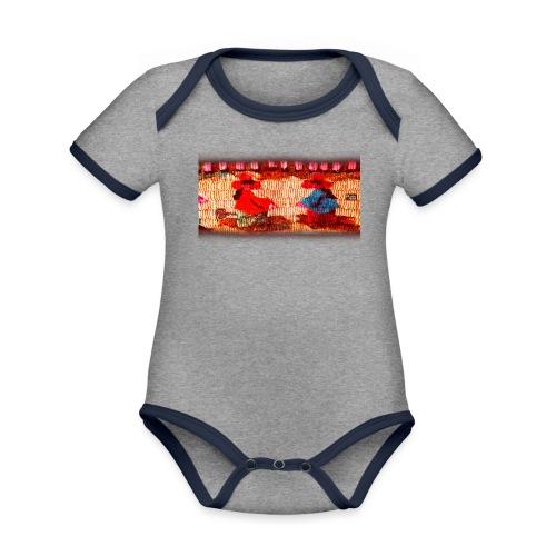 Dos Paisanitas tejiendo telar inca - Body Bébé bio contrasté manches courtes